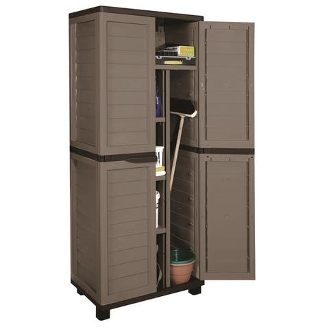 Cabinet with Vertical Partition & 4 shelves, Mocha/Brown