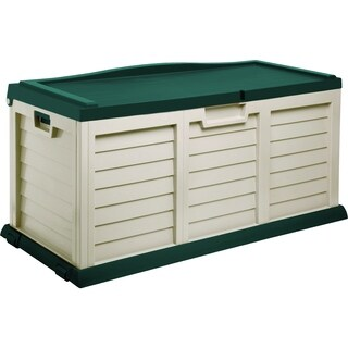 103 Gallon Deck Box with Sit-On Cover, Beige/Green