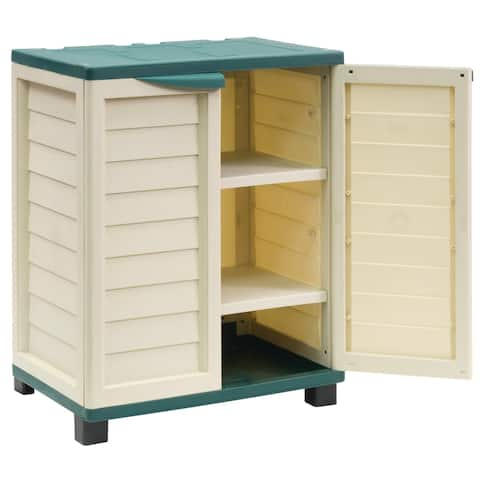 Cabinet with 2 shelves, Beige/Green