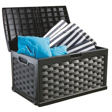 71 Gallon Rattan Deck Box, Black