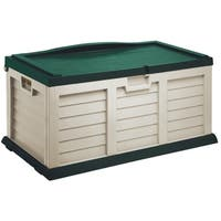 71 Gallon Deck Box with Sit-On Cover, Beige/Green