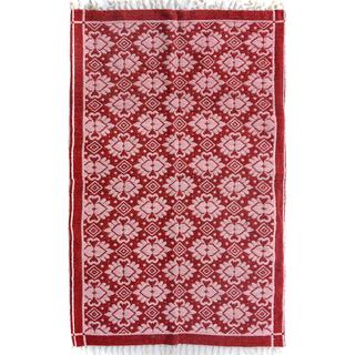 Arshs Double-sided Arya Elvis Red/Pink Chenille Rug (3'9 x 5'10)