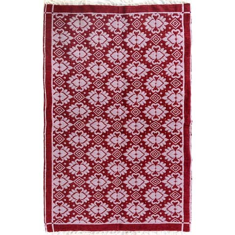 Double-sided Arya Hiram Pink/Pink Chenille Rug (3'10 x 5'10) - 3 ft. 10 in. x 5 ft. 10 in. - 3 ft. 10 in. x 5 ft. 10 in.
