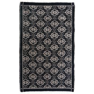 Double-sided Arya Riley Black/Gray Chenille Rug (3'10 x 5'10) - 3 ft. 10 in. x 5 ft. 10 in.