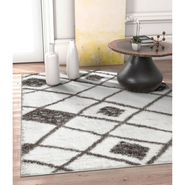 Well Woven Modern Artisan Thick Shag White Area Rug - 6'7 x 9'6