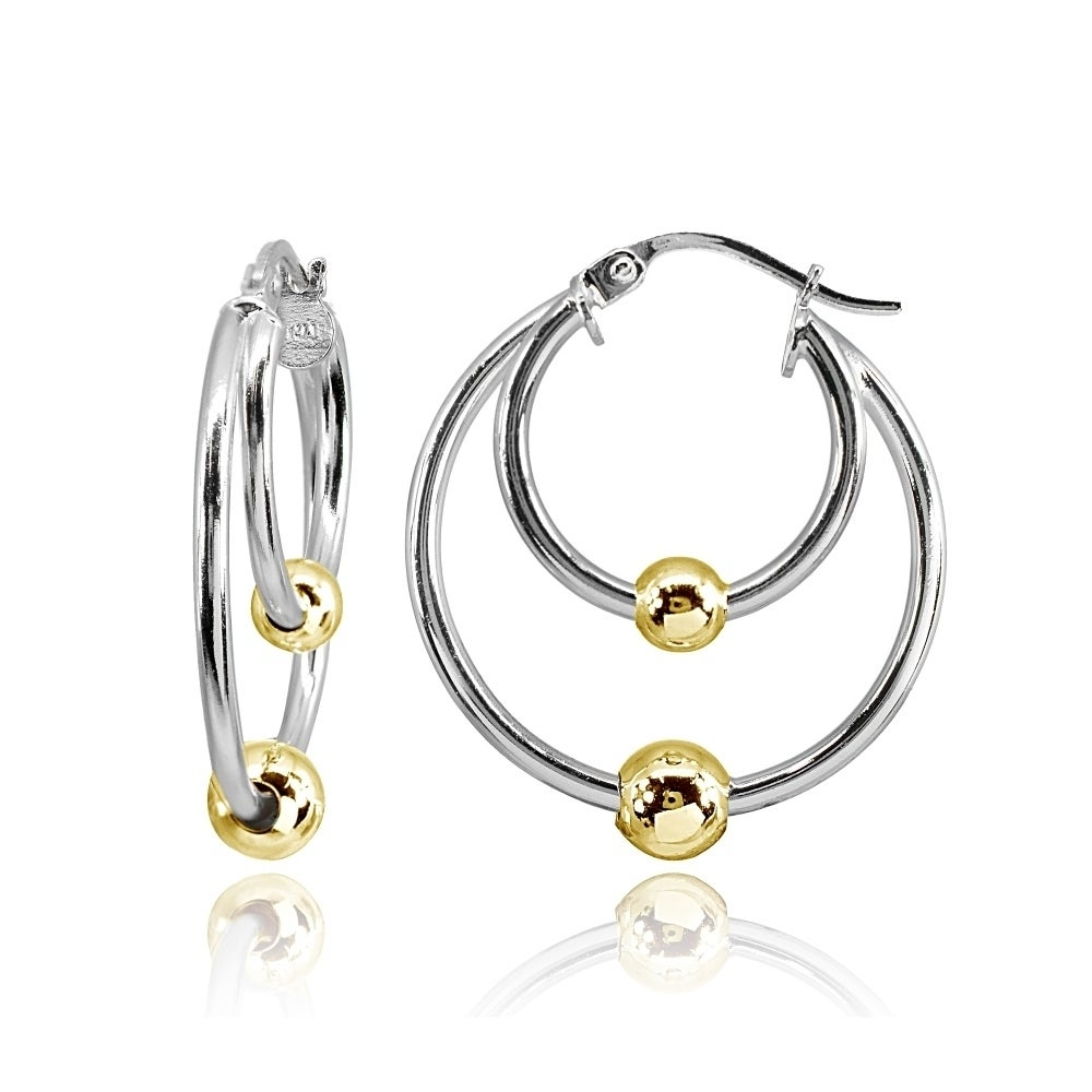 925 Sterling Silver Polished /& Textured Hoop Earrings 3mm x 25mm