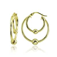 Mondevio High Polished Double Hoop with Bead Earrings in Sterling Silver