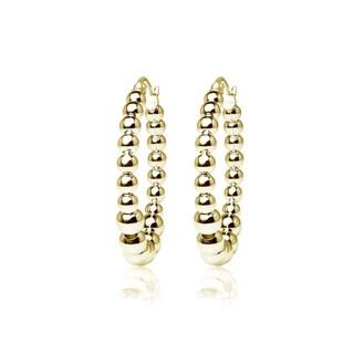 Mondevio High Polished Graduated Beaded 20mm Hoop Earrings in Sterling Silver