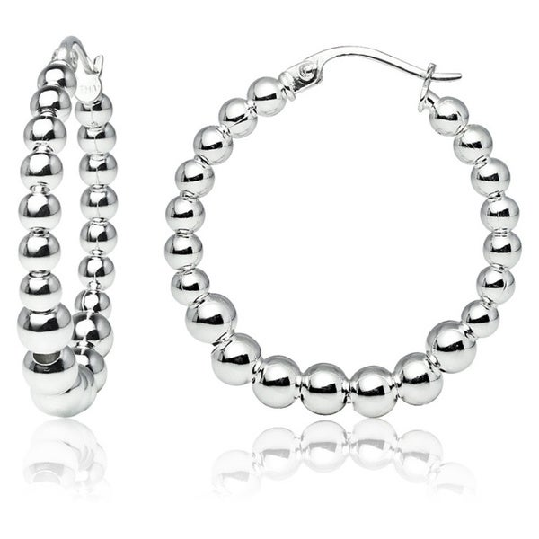 ef1bc94fe9138 Shop Mondevio High Polished Graduated Beaded 20mm Hoop Earrings in ...