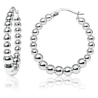 Mondevio High Polished Graduated Beaded 20mm Hoop Earrings in Sterling Silver (3 options available)