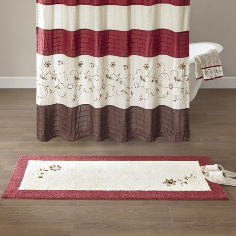 Madison Park Belle Red Embroidered Cotton Tufted Rug
