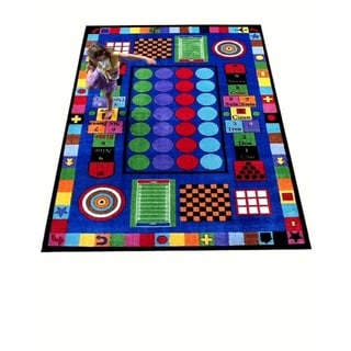 Game Time Multicolored Nylon Educational Area Rug (6'6 x 8'4) - EXACT SIZE