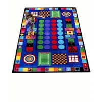 Game Time Multicolored Nylon Educational Area Rug (6'6 x 8'4)