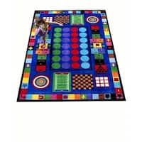 Game Time Multicolored Nylon Educational Area Rug - 6'6 x 8'4