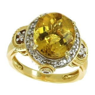 Michael Valitutti 18K Yellow Gold Yellow Beryl Diamond Halo Ring