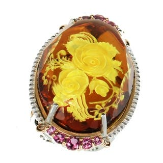 Michael Valitutti Palladium Silver Oval Carved Amber Flower & Rhodolite Elongated Ring|https://ak1.ostkcdn.com/images/products/18609313/P24708711.jpg?impolicy=medium