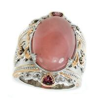 Michael Valitutti Palladium Silver Pink Chalcedony & Rhodolite Wide Band Ring