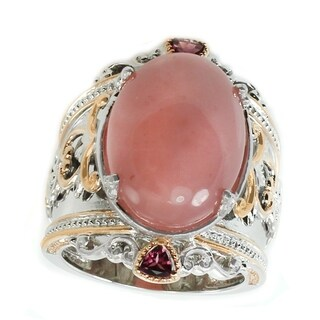 Michael Valitutti Palladium Silver Pink Chalcedony & Rhodolite Wide Band Ring