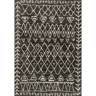 "Transitional Black/ Ivory Moroccan Geometric Rug - 9'2"" x 12'7"""