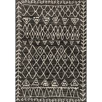 Transitional Black/ Ivory Moroccan Geometric Rug - 9'2 x 12'7