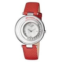 GV2 Women's Swiss Quartz Diamond Stainless steel Red Leather Strap Watch