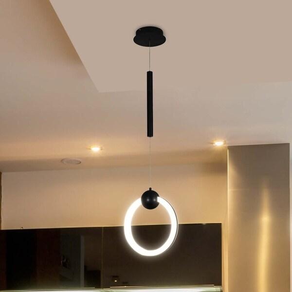 VONN Lighting VMP26310BL Capella 12-inch Integrated LED Pendant in Black