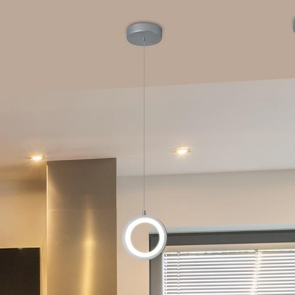 VONN Lighting VMP27300AL Tania 5-inch Integrated LED Pendant Silver