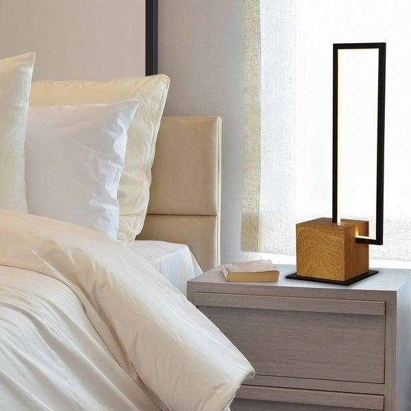 """VONN Lighting VSST6106BL Silva 17""""H LED Table Lamp Plated Black Wood"""