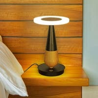 """VONN Lighting VSRT6507BL Silva 12""""H LED Table Lamp Plated Black Wood"""