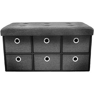 Storage Bench Chest with Drawers - Gray