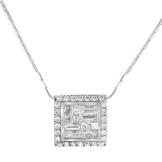 14K White Gold 1ct TDW Diamond Baguette Square Pendant