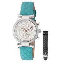 GV2 Women's Swiss Quartz Diamond Chronograph Blue Leather Strap Watch Strap