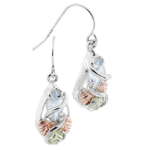 Black Hills Gold on Silver Cubic Zirconia Dangle Earrings