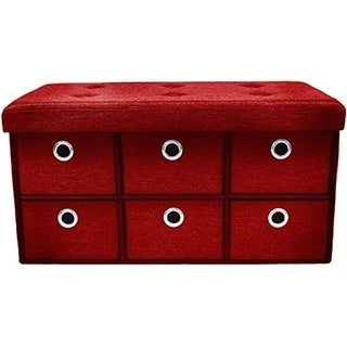 Storage Bench Chest with Drawers - Red