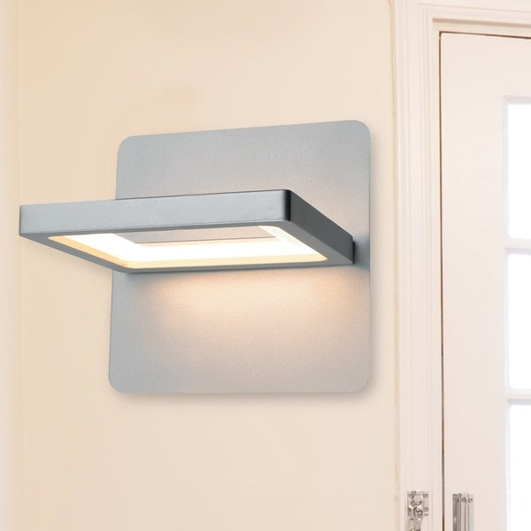 Vonn lighting vmw17400al atria 6 inch rotative integrated led wall sconce in silver