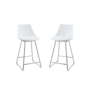"Emerald Home Neo White Seat, Chrome Base 24"" Bartstool (Set of 2)"