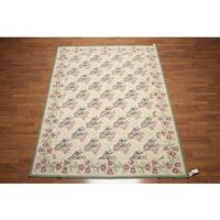 Ornamental French Needlepoint Aubusson Wool Hand-woven Area Rug (6' x 9') - multi