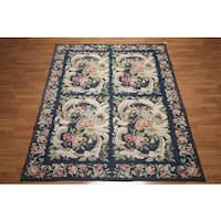 French Country Ornamental Hand-woven Needlepoint Aubusson Area Rug (6' x 9') - multi