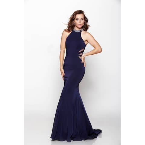 Elegant Smooth High-Neck Gown
