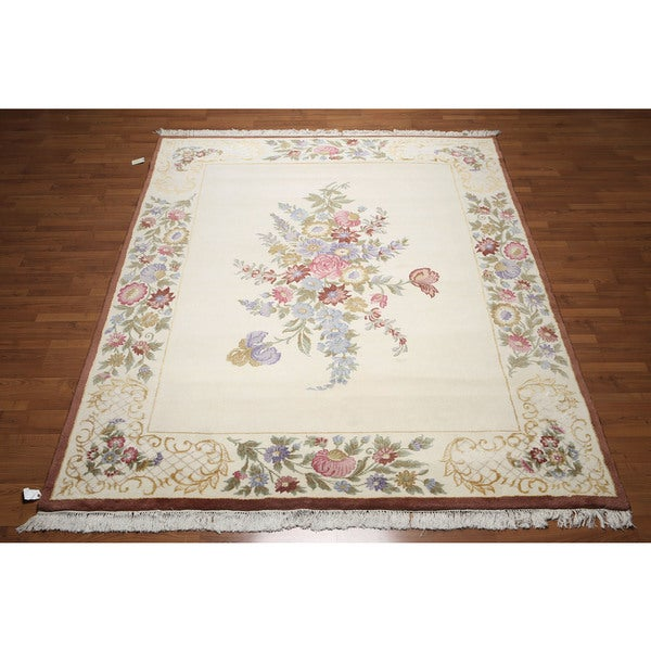 Victorian Multicolor Wool and Silk Thick Pile French Aubusson Savonnerie Area Rug - multi