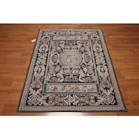 Traditional Victorian Multicolor Wool Hand-woven Needlepoint Aubusson Area Rug - 4' x 6'