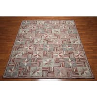 Ornamental Oriental Hand-tufted Beige/Rust/Multicolored Pure Wool Indoor Rectangular Area Rug - 8' x 10'