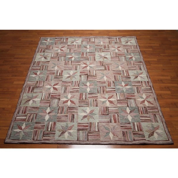 Ornamental Oriental Hand-tufted Beige/Rust/Multicolored Pure Wool Indoor Rectangular Area Rug (8' x 10') - multi
