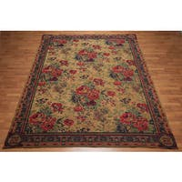 Aubusson Glam Transitional Italian Needlepoint Tan/Green/Rust Chenille/Wool Area Rug - 7'7 x 10'11