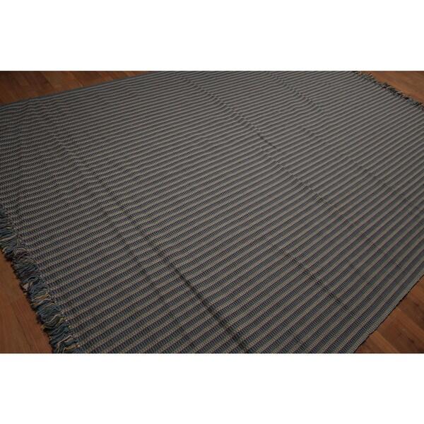 Portuguese Dhurry Handwoven Wool Kilim Rug - 8' x 11'2