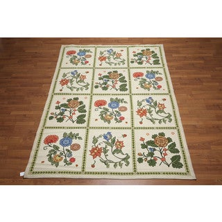 Portuguese Multicolor Wool Floral Ornamental Needlepoint Area Rug (6'x9')