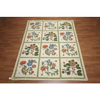 Portuguese Multicolor Wool Floral Ornamental Needlepoint Area Rug - 6'x9'