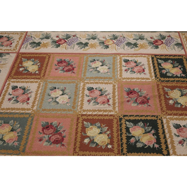 Rustic Farmhouse Floral Oriental Wool Area Rug - 8' x 11'