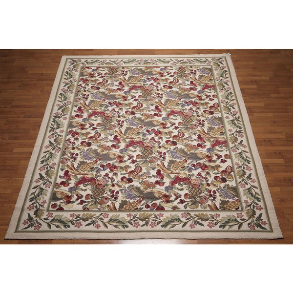 Ornamental Oriental Multicolored Wool Hand-hooked Area Rug - 8' x 10'