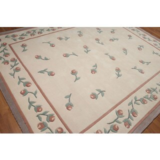 Shabby Chic Transitional Pure Wool Aubusson Area Rug (8' x 10')